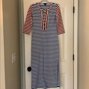 J. Crew red white and blue midi dress